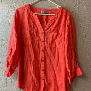 Womens JM Collection Linen/cotton button down
